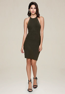 bebe Knit Halter Dress