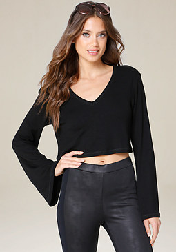 bebe Ribbed Bell Sleeve Crop Top