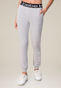 bebe Logo Heathered Jogger Pants