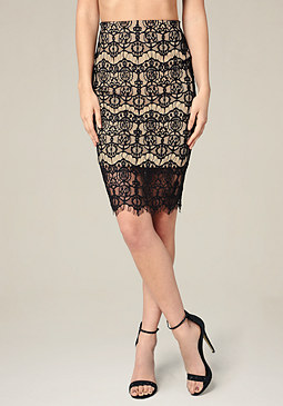 bebe Lace Scallop Hem Skirt