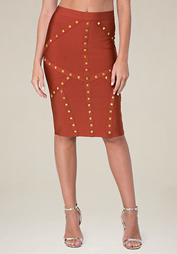 bebe Studded Pencil Skirt