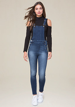 bebe Clean Denim Overalls