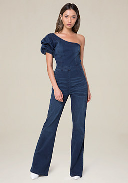 bebe Denim One Shoulder Jumpsuit