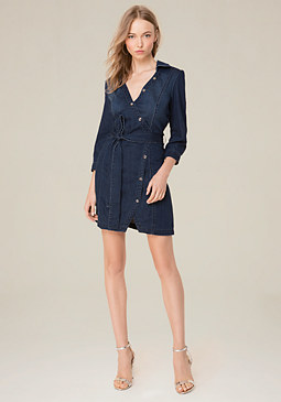 bebe Denim Button Wrap Dress