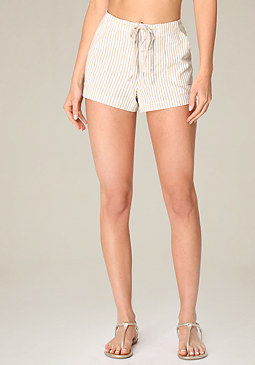 bebe Striped Linen Shorts