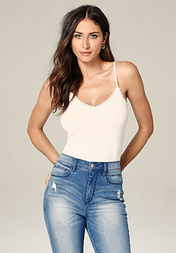 bebe Lace Trim V-Neck Cami