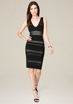 bebe Mesh Deep V-Neck Dress