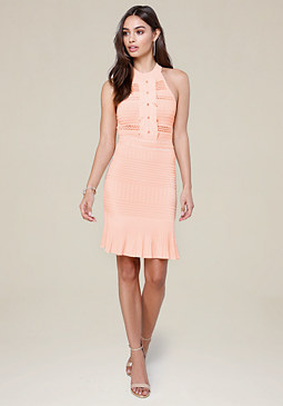 bebe Ruffled Mock Neck Dress