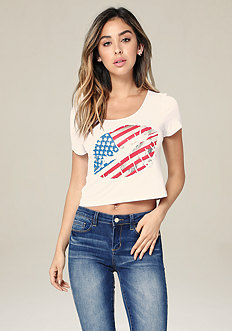 4th of July Foil Lips Tee