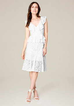 bebe Jo Jo Ruffled Lace Dress