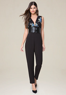 bebe Embroidered Jumpsuit