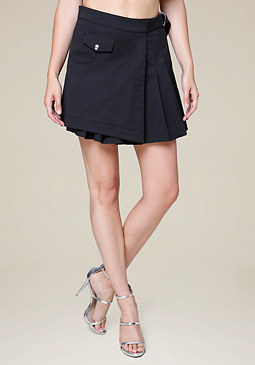 bebe Pleated Mock Wrap Miniskirt