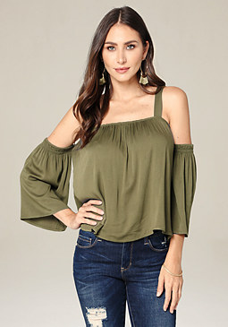 bebe Mari Cold Shoulder Top