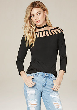 bebe Morgan Cutout Top