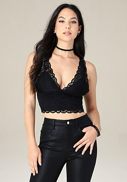 bebe Lace V-Neck Crop Tank