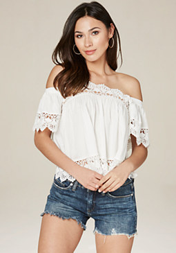 bebe Scallop Lace Trim Top