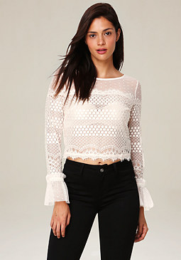 bebe Lace Ruffle Cuff Top