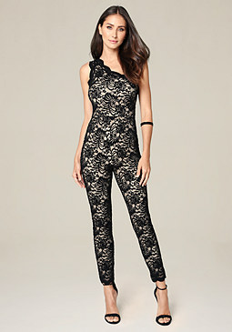 bebe Lace One Shoulder Catsuit