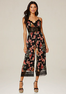 bebe Print Lace Trim Jumpsuit