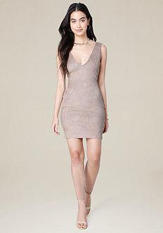 Faux Suede V-Neck Dress