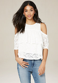 Lace Deep Ruffle Top