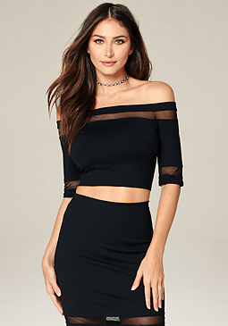 bebe Mesh Inset Crop Top