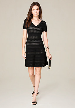 bebe Pointelle Flared Dress