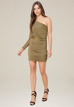 bebe Mesh One Shoulder Dress