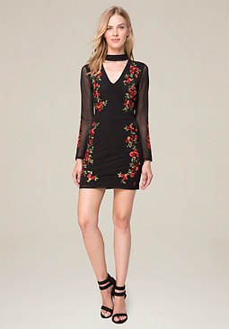 bebe Embroidered Mesh Dress
