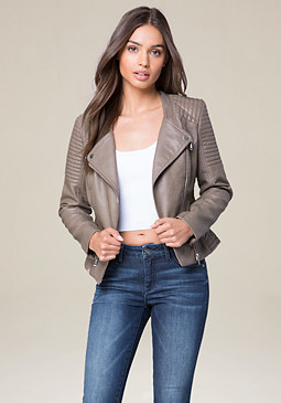 bebe Quilted Moto Jacket