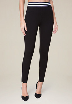 bebe Stripe Waist Leggings