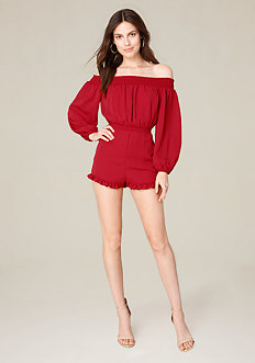 Ruffled Off Shoulder Romper