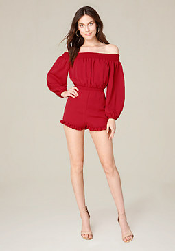 bebe Ruffled Off Shoulder Romper