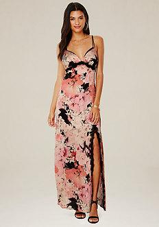 Lace Trim Satin Maxi Dress
