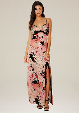 bebe Lace Trim Satin Maxi Dress