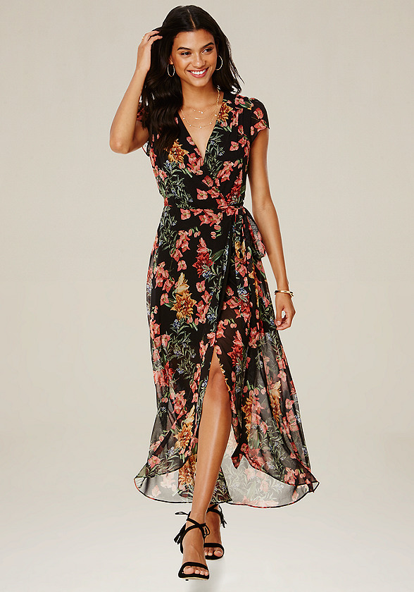 Print Wrap Maxi Dress All Dresses Bebe