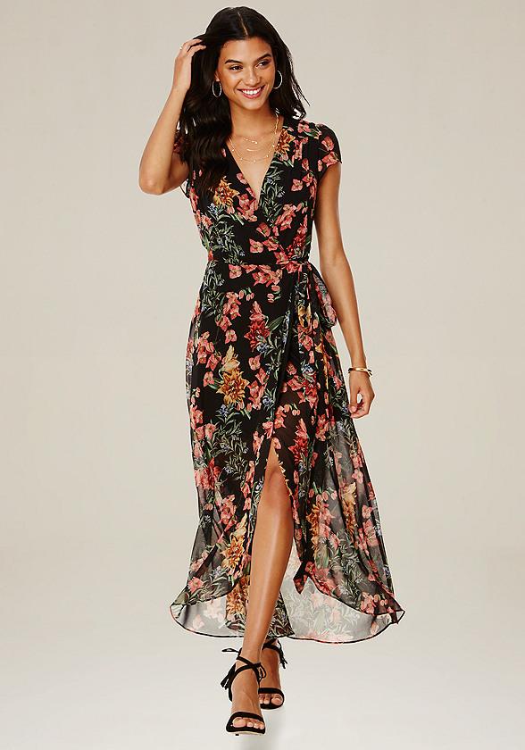 Print wrap maxi dress all dresses bebe for Bebe dresses wedding guest