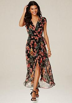 Print Wrap Maxi Dress
