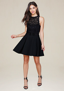 bebe Mock Neck Fit & Flare Dress
