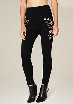 bebe Floral Embroidered Leggings