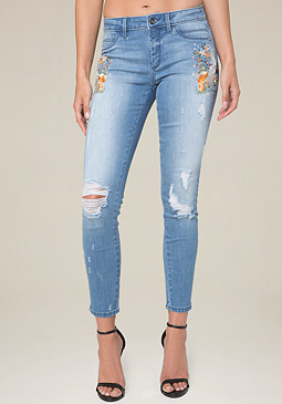 bebe Embroidered Jeans