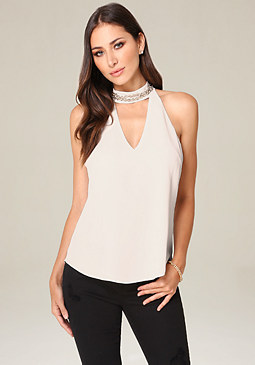 bebe Embellished Choker Top