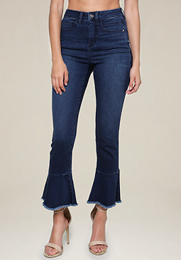 Ruffle Flare Jeans at bebe