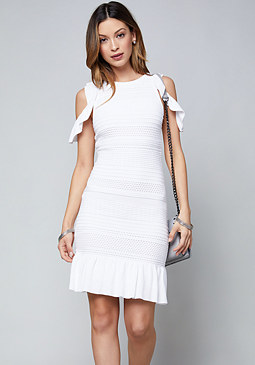 bebe Pointelle Ruffle Hem Dress