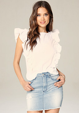 bebe Poplin Side Ruffle Top