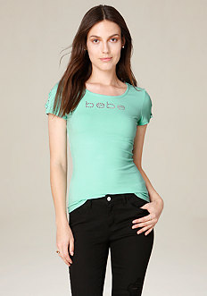 Logo Lace Up Sleeve Top