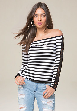 bebe Logo Stripe & Lace Top