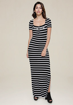 bebe Striped Judith Maxi Dress