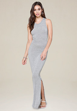 bebe Logo Heathered Maxi Dress