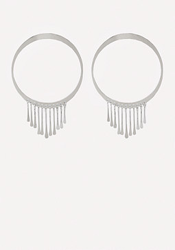 bebe Fringe Hoop Earrings